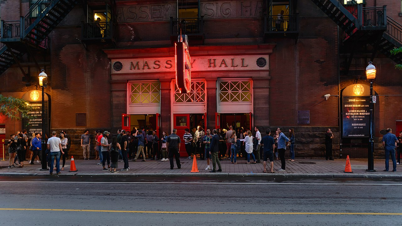 Crowd outside Massey Hall, Toronto.