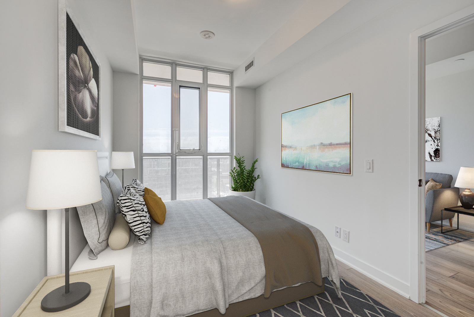 Master bedroom with 3D bed and large windows.