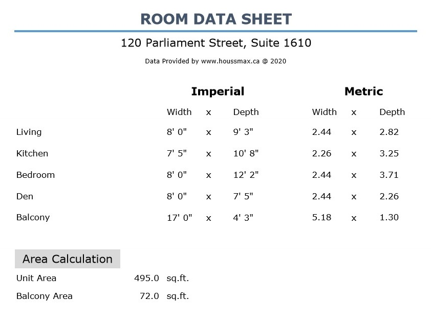 120 Parliament St Unit 1610 Measurements