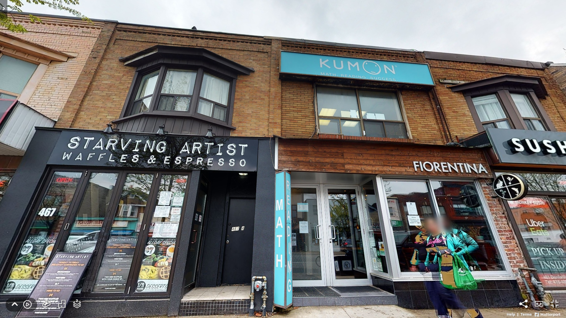 463 Danforth Ave facade with Fiorentina restaurant and Kumon.