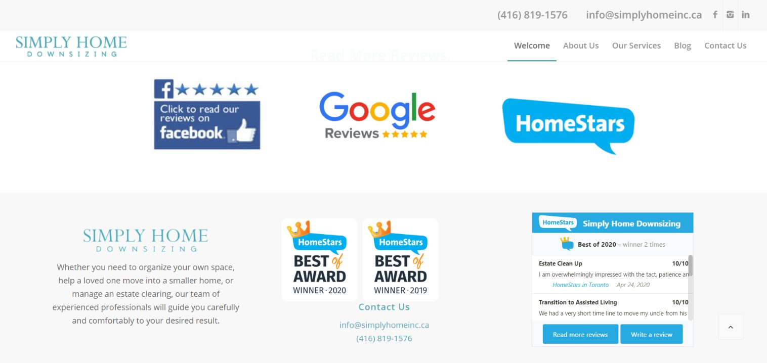 Awards and customer reviews from Simply Home Downsizing website.