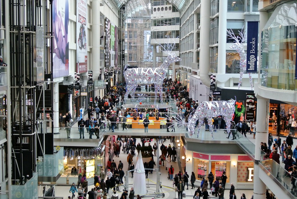 Holiday crowd at Eaton Centre mall in Toronto.