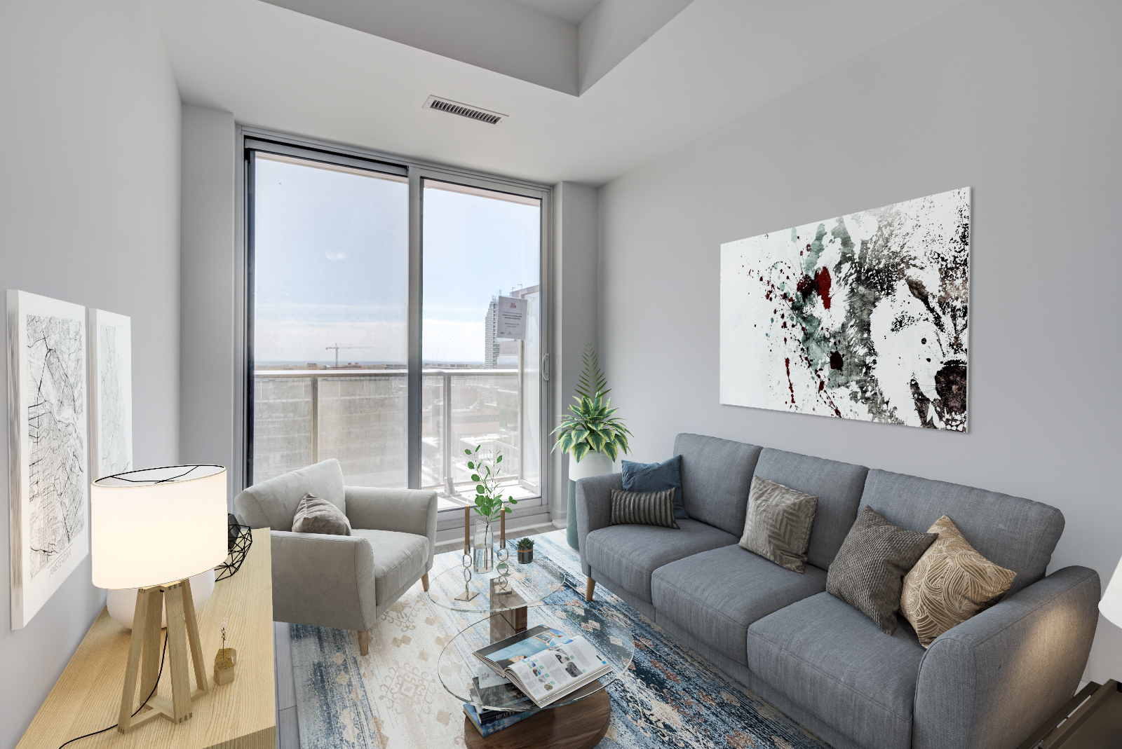 120 Parliament St Unit 1610 living room with 3D furniture, including sofa and tables.