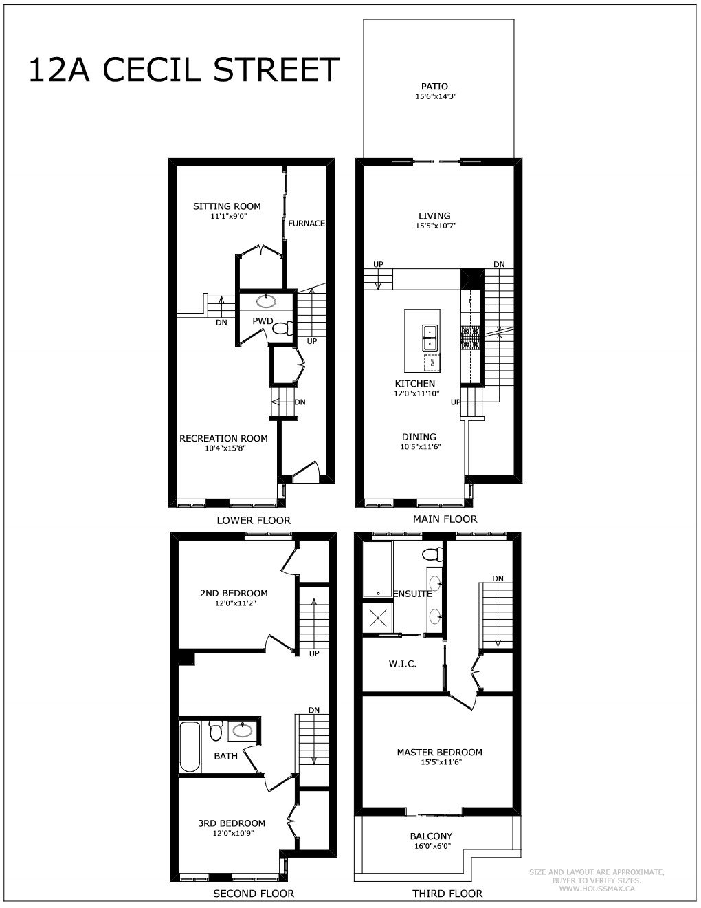 Floor plans for 12A Cecil townhouse