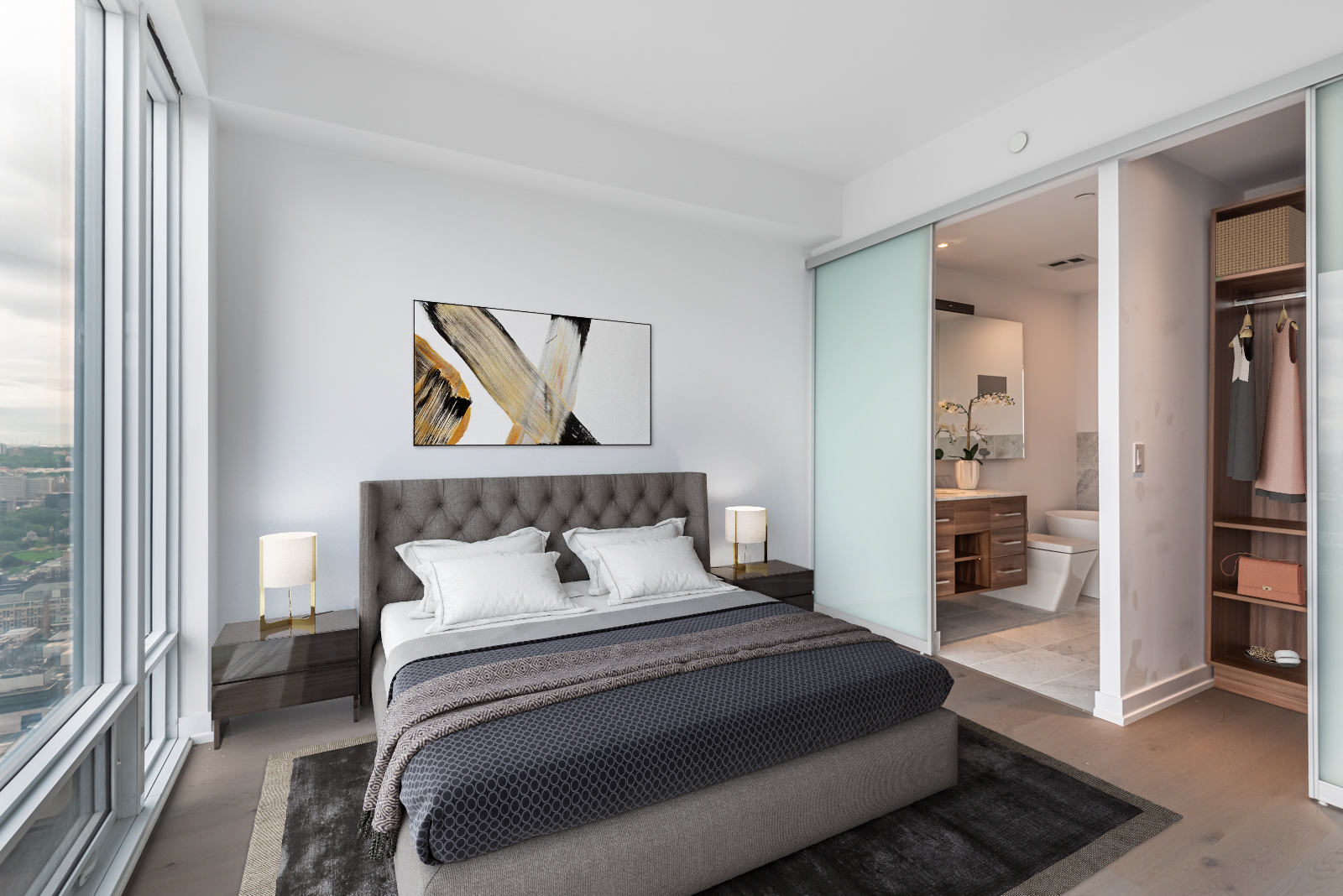 488 University Ave Unit 3410 master bedroom with 3D-rendered bed, paintings and closet.