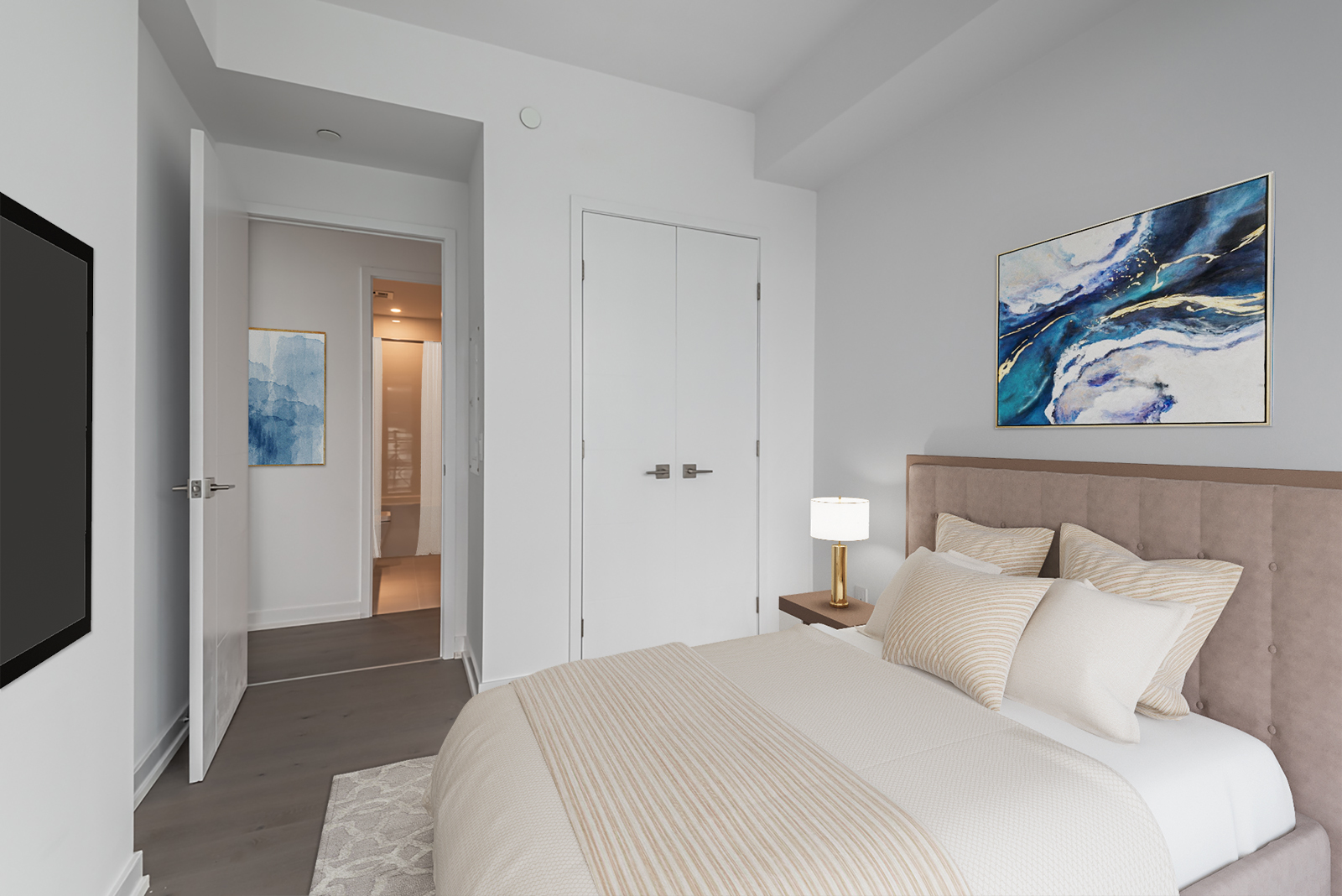 3D-rendered bed and paintings in second bedroom of 488 University Ave Unit 3410.
