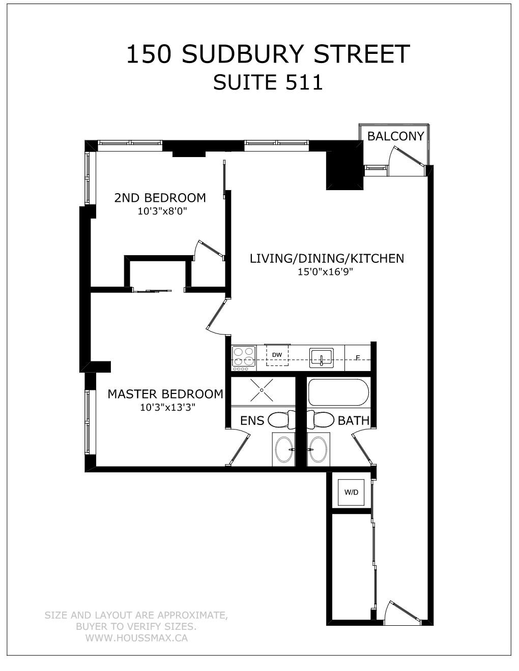 Floor plans for 150 Sudbury St Unit 511.