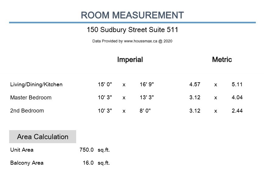 Measurements for 150 Sudbury St Unit 511.
