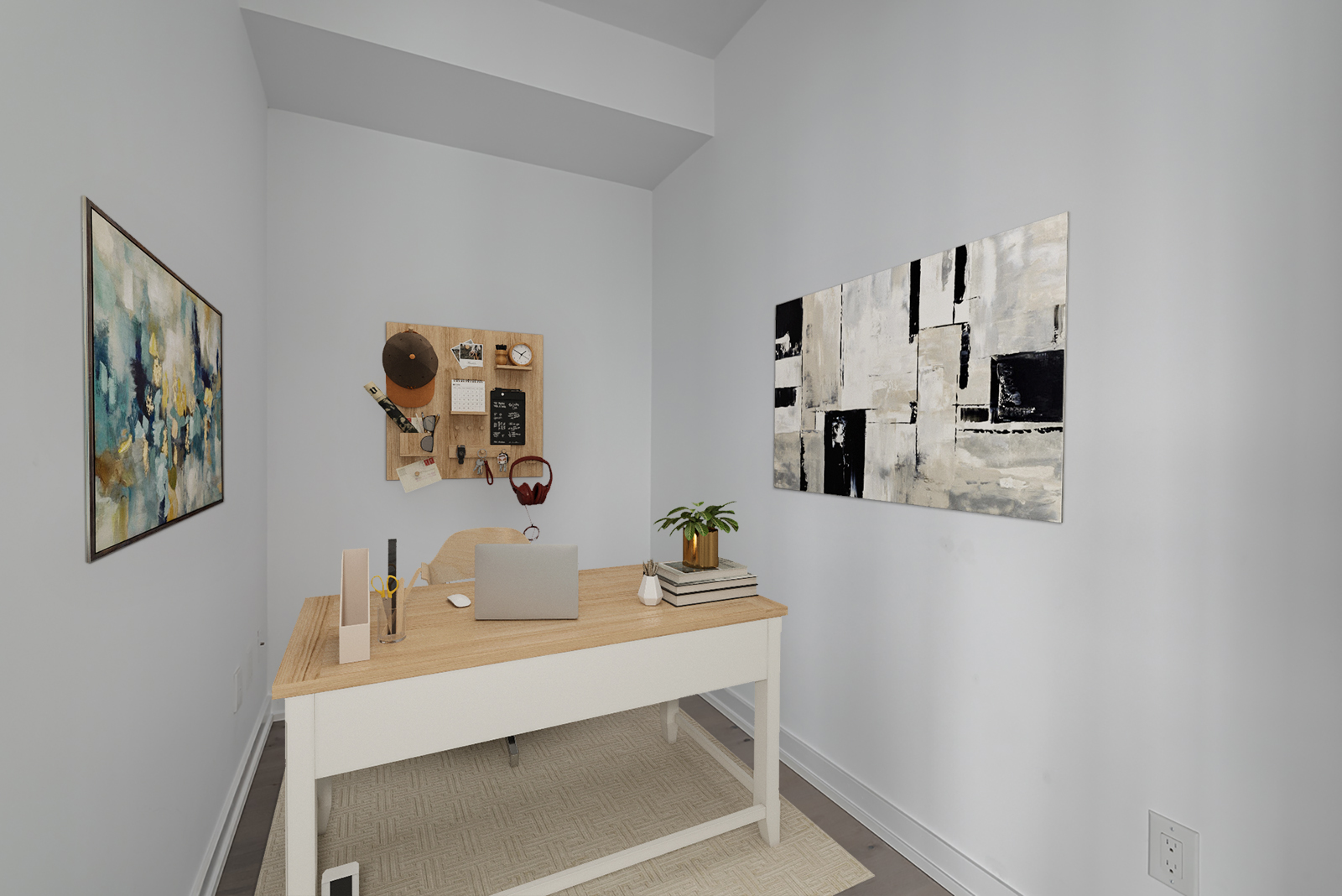 488 University Ave den with 3d-rendered desk and paintings.
