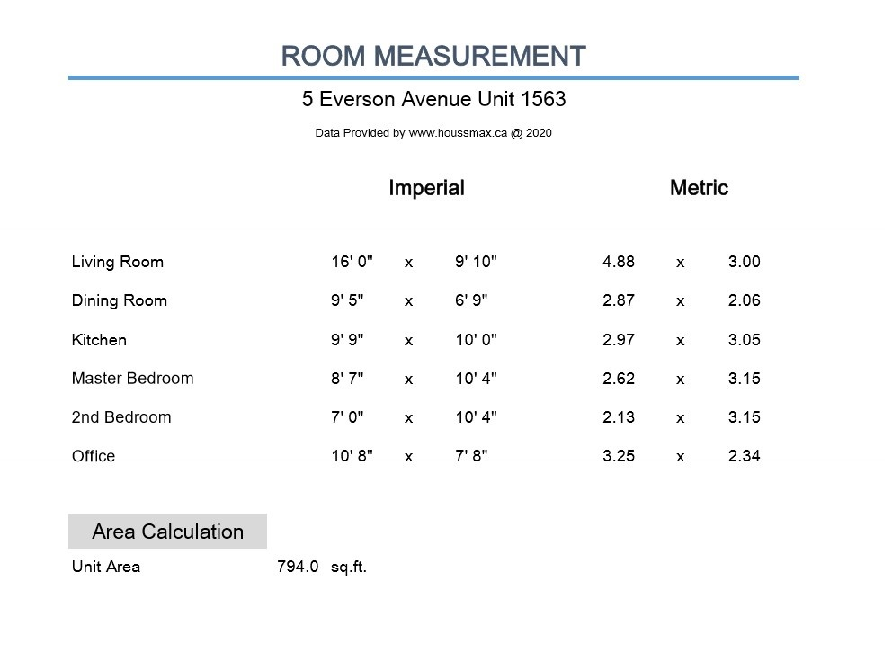 Measurements for 5 Everson Dr Unit 1563