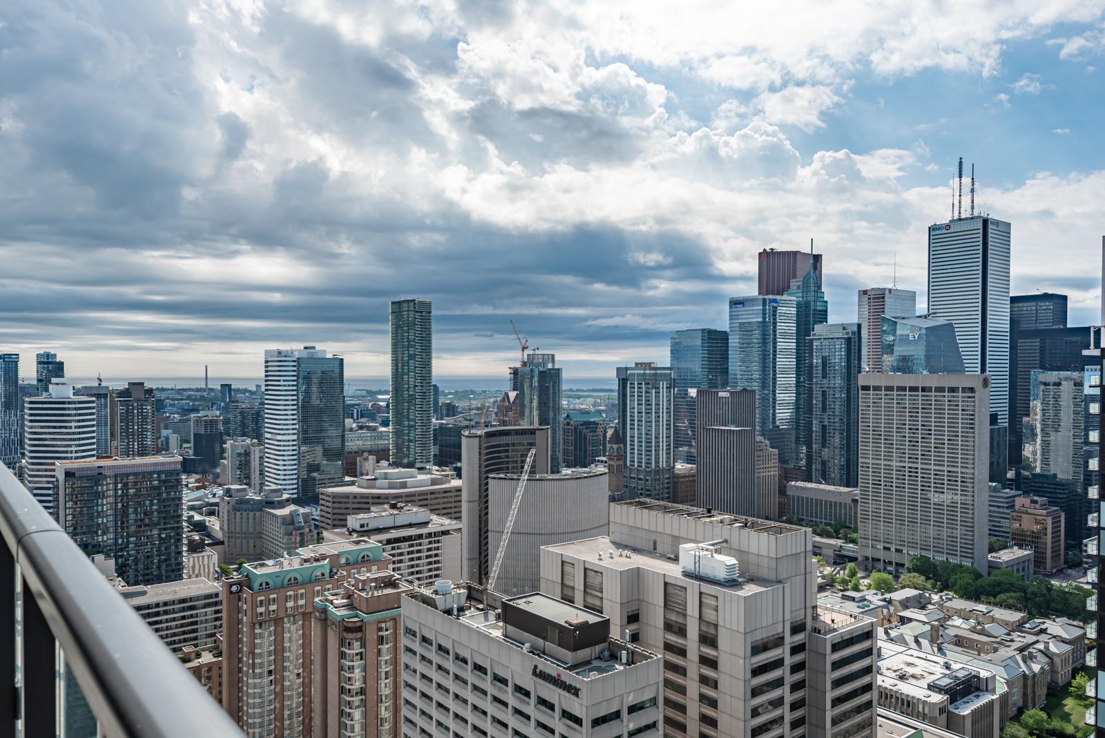 Morning view of Toronto City Hall from balcony of 488 University Ave #3410.