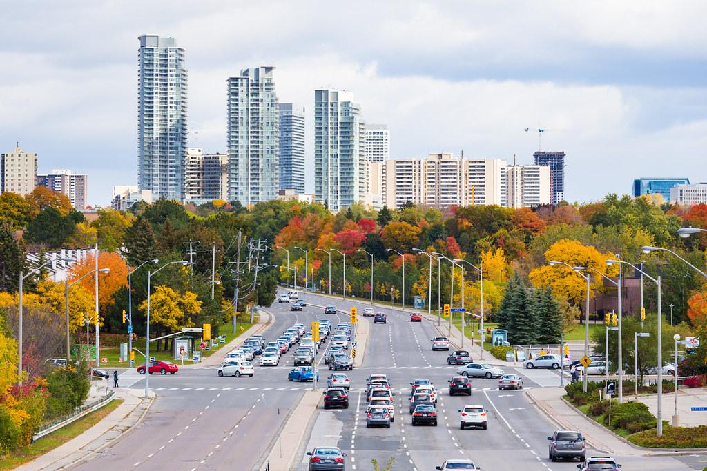 Toronto skyline seen from North York suburbs.