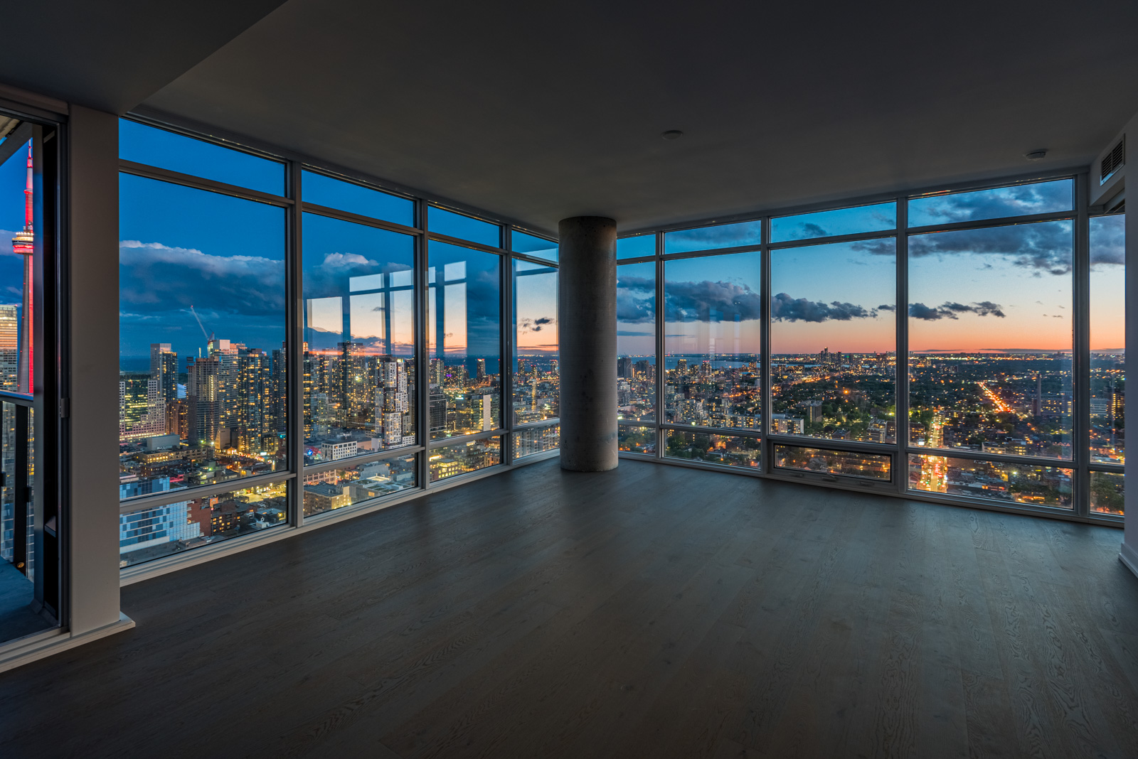 Night view of Toronto, CN Tower and Lake Ontario from 488 University Ave Suite 3410.