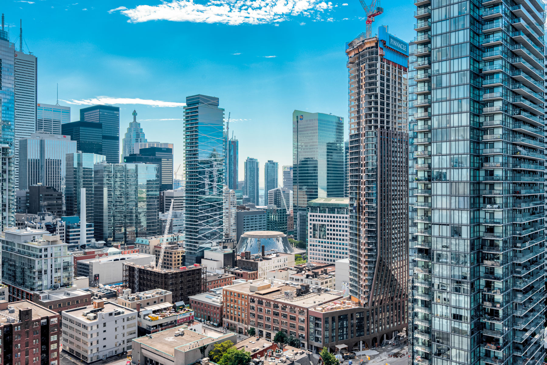 Aerial view of Toronto's Entertainment District from balcony of 318 Richmond St W Unit 2607.