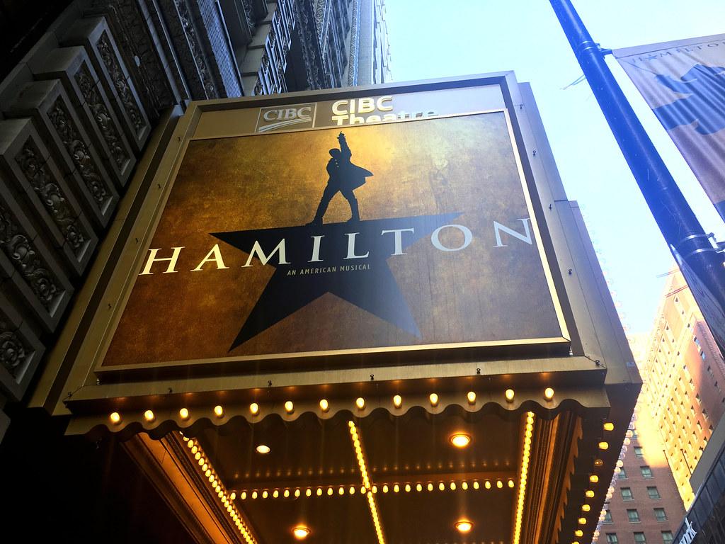 Hamilton The Musical marquee in Toronto.