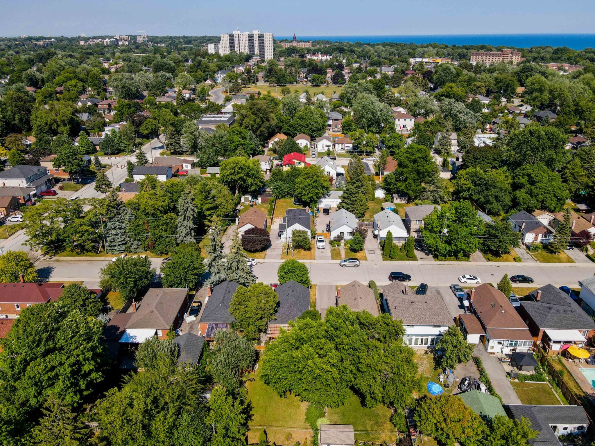 Aerial view of houses, trees and streets of Birchcliffe-Cliffside, a suburb of Scarborough, Toronto.