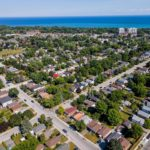 Aerial view of Birchcliffe-Cliffside, a suburb of Scarborough.