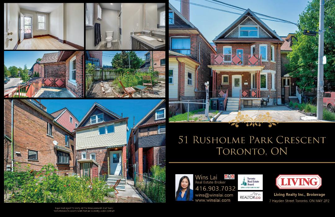Marketing flyer for 51 Rusholme Park Crescent showing house interior and exterior.