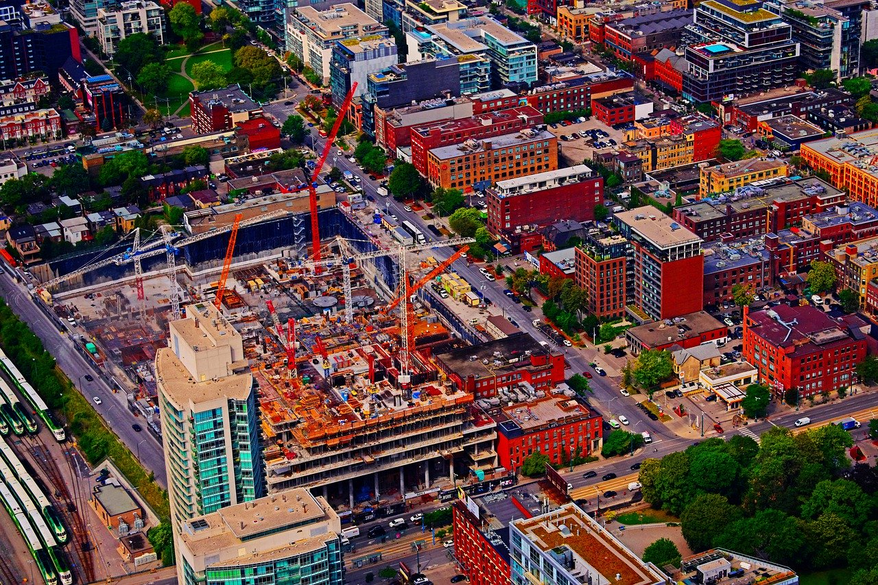 Aerial view of construction in Toronto.