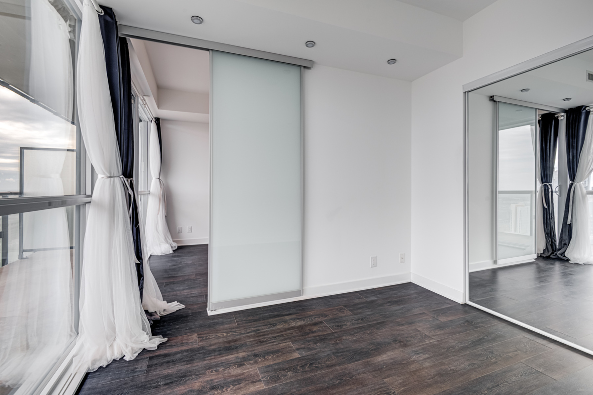 Master bedroom with sliding door.
