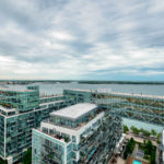 View of Toronto Waterfront and Lake Ontario from 15 Queens Quay E Unit 1901 balcony.