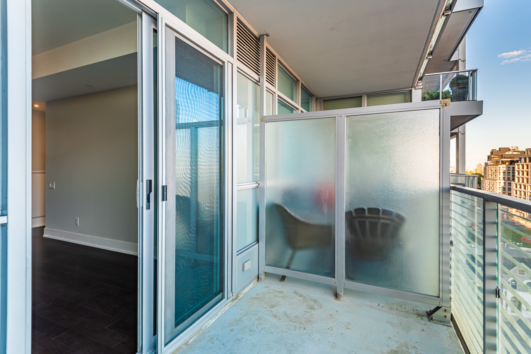 Balcony with glazed dividers.