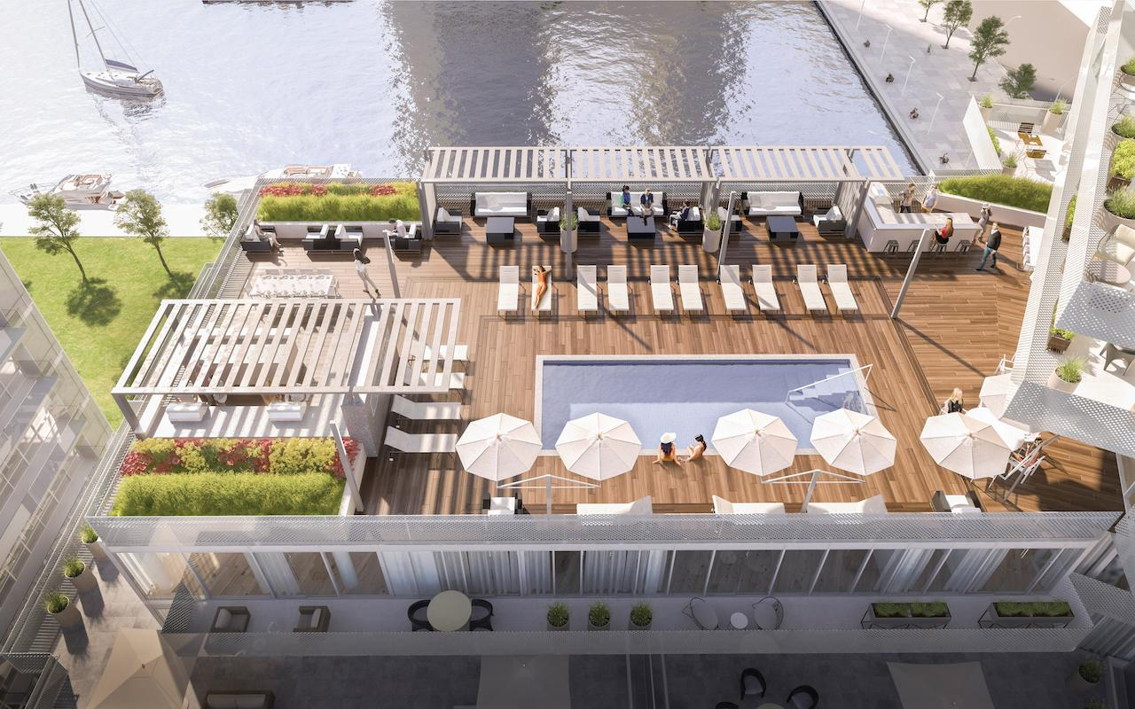 Pier 27 rooftop terrace render with pool, cabana and view of Toronto Waterfront.