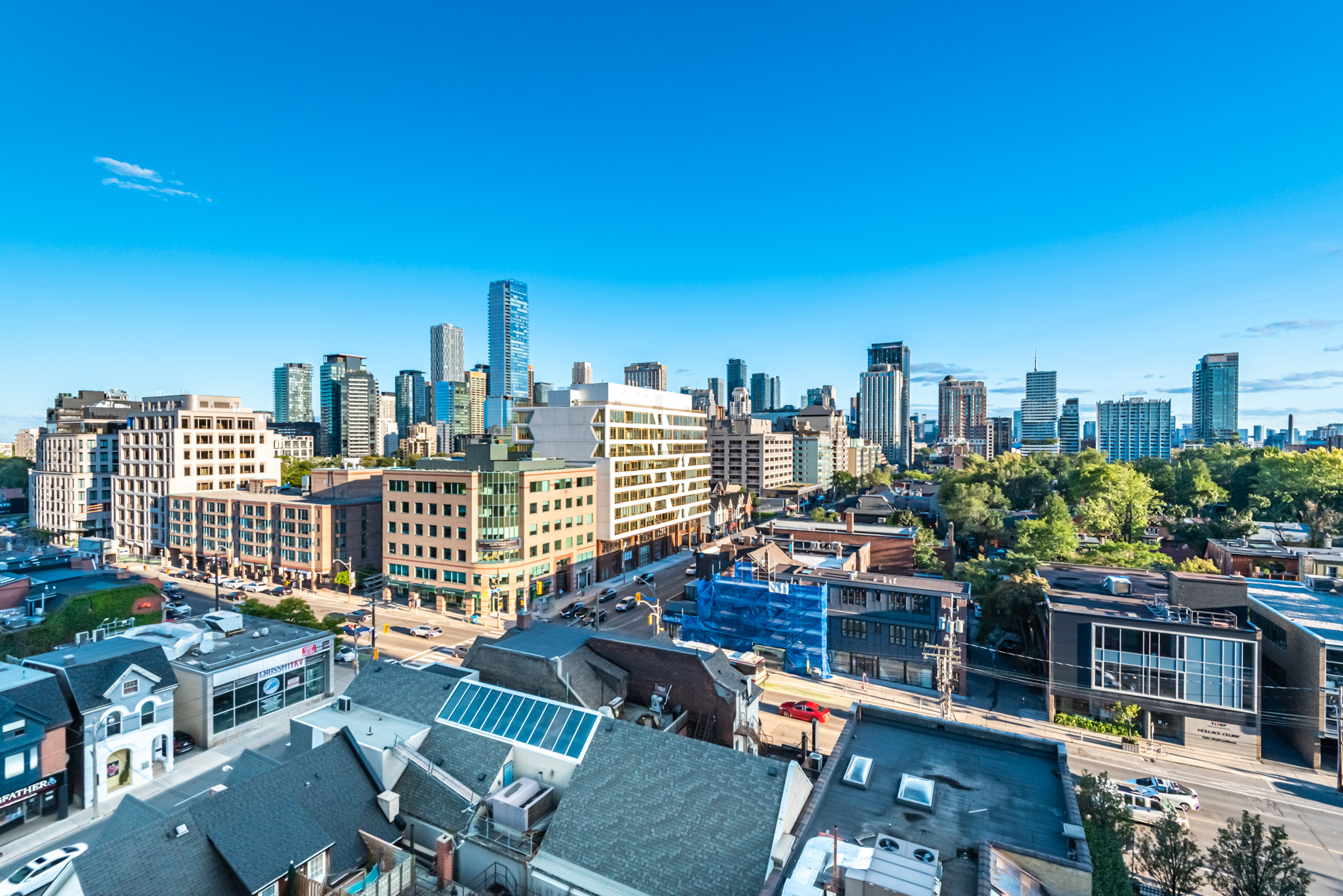 View of Yorkville, Toronto from balcony of 170 Avenue Rd #903.