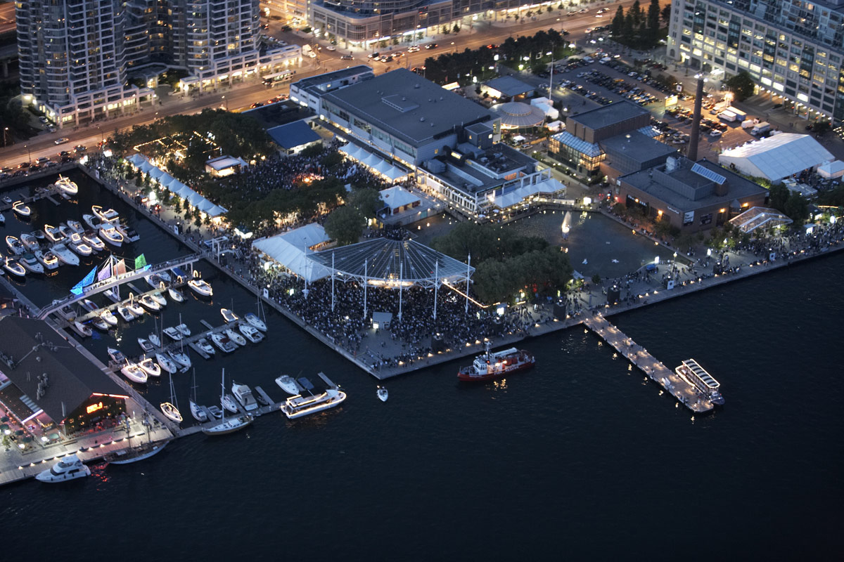 Aerial night view of Toronto harbourfront.