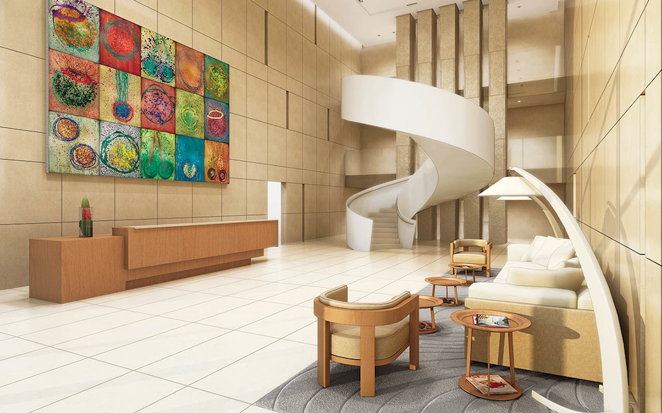 Artist's render of Pears on The Avenue lobby with spiral staircase.