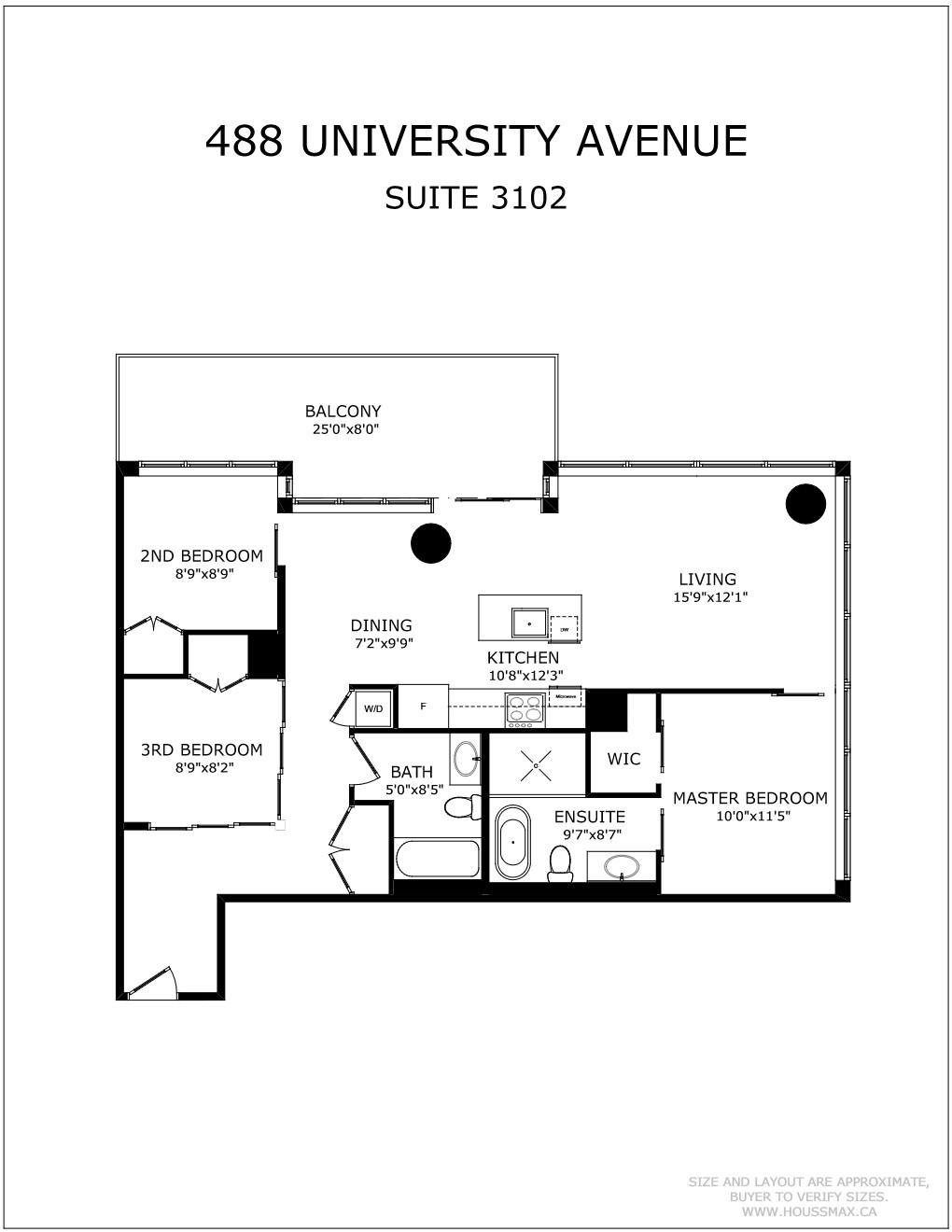 Floor Plans for 488 University Ave Unit 3102