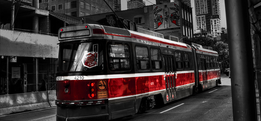 Black and white photo of TTC streetcar.