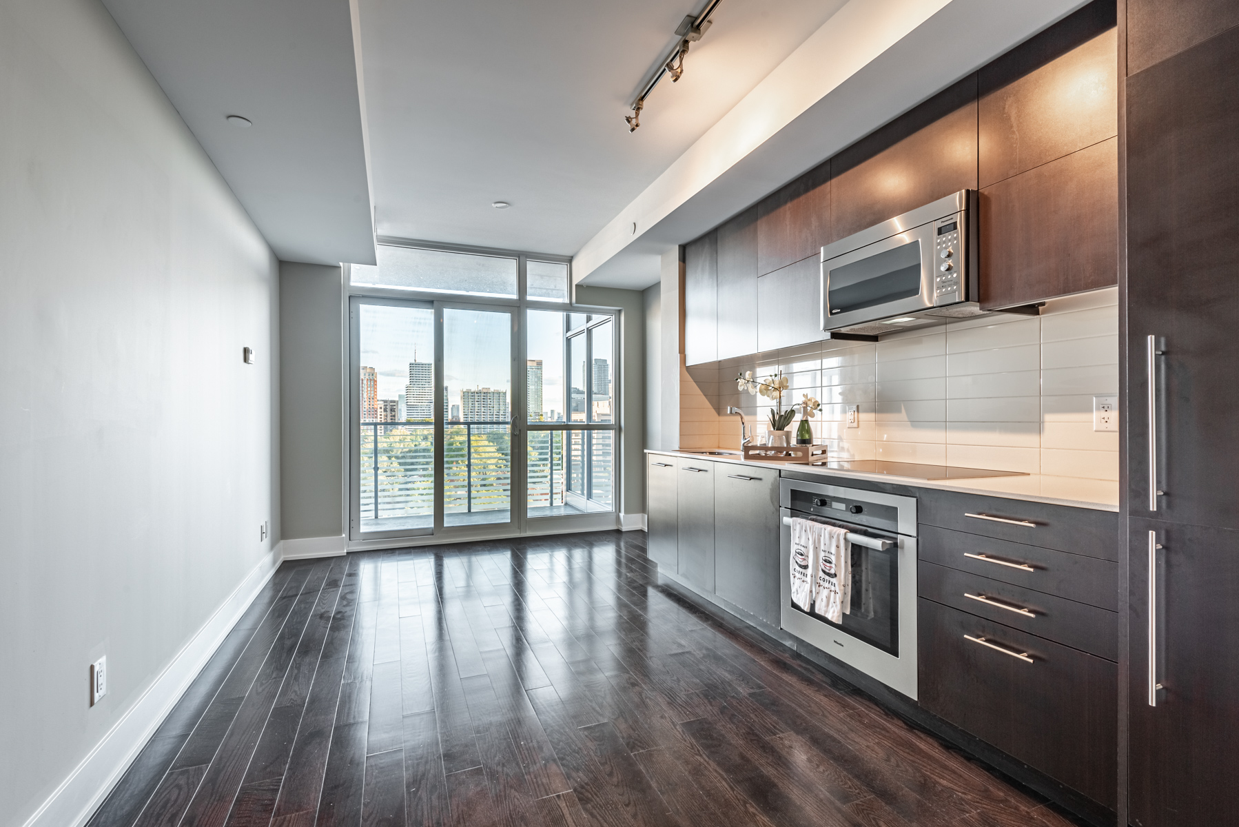 Brightly lit open-concept condo.