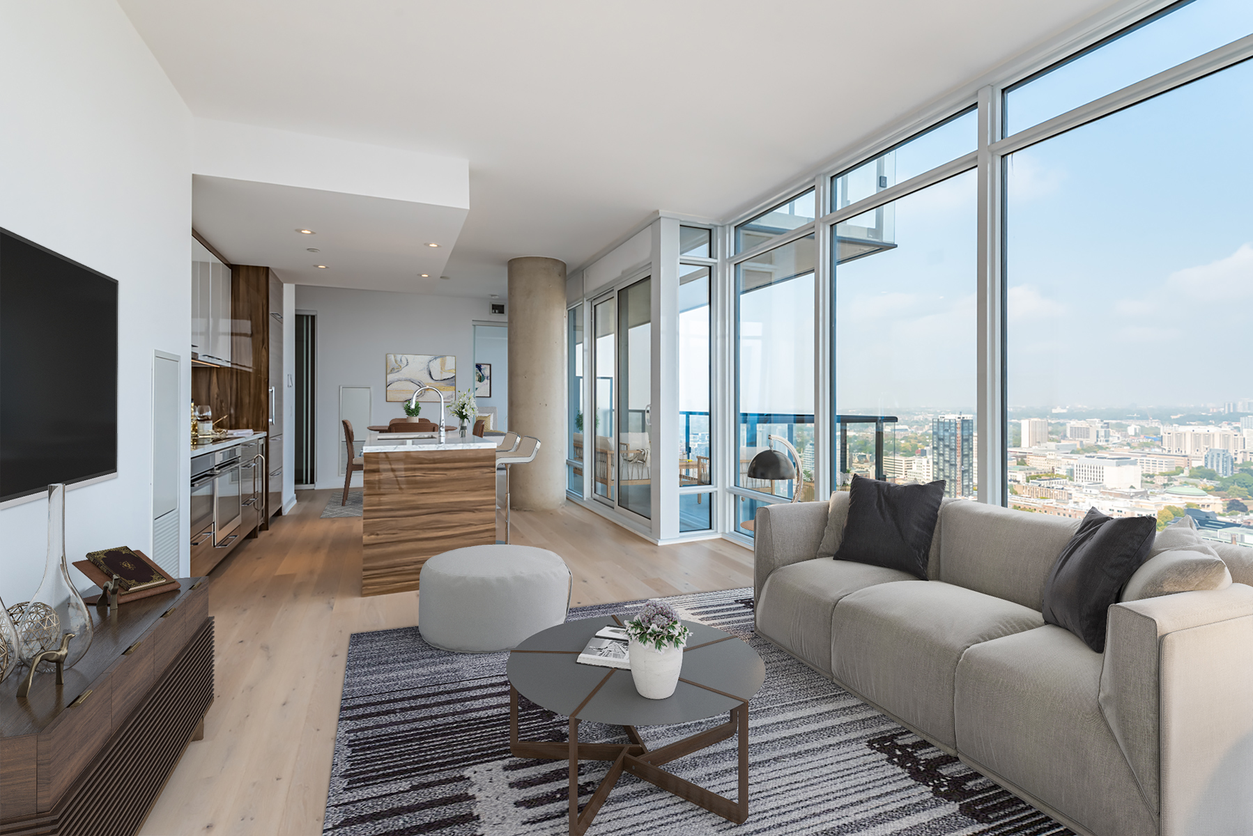 Condo with floor-to-ceiling windows and view of Toronto.
