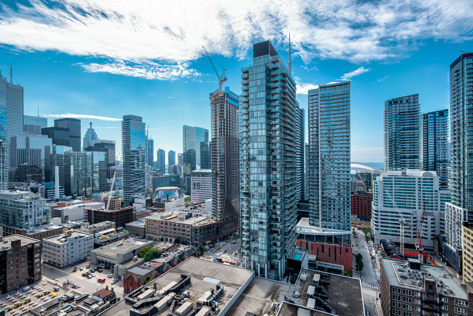 afternoon aerial view of toronto skyline