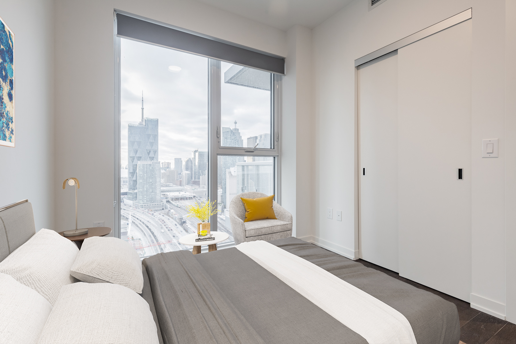 Large virtually staged second bedroom of 20 Richardson St Unit 3108.