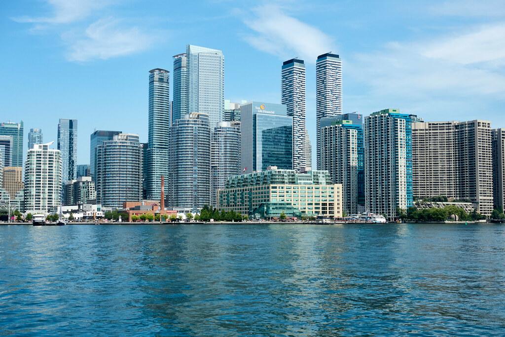 View of Toronto Waterfront from Lake Ontario.