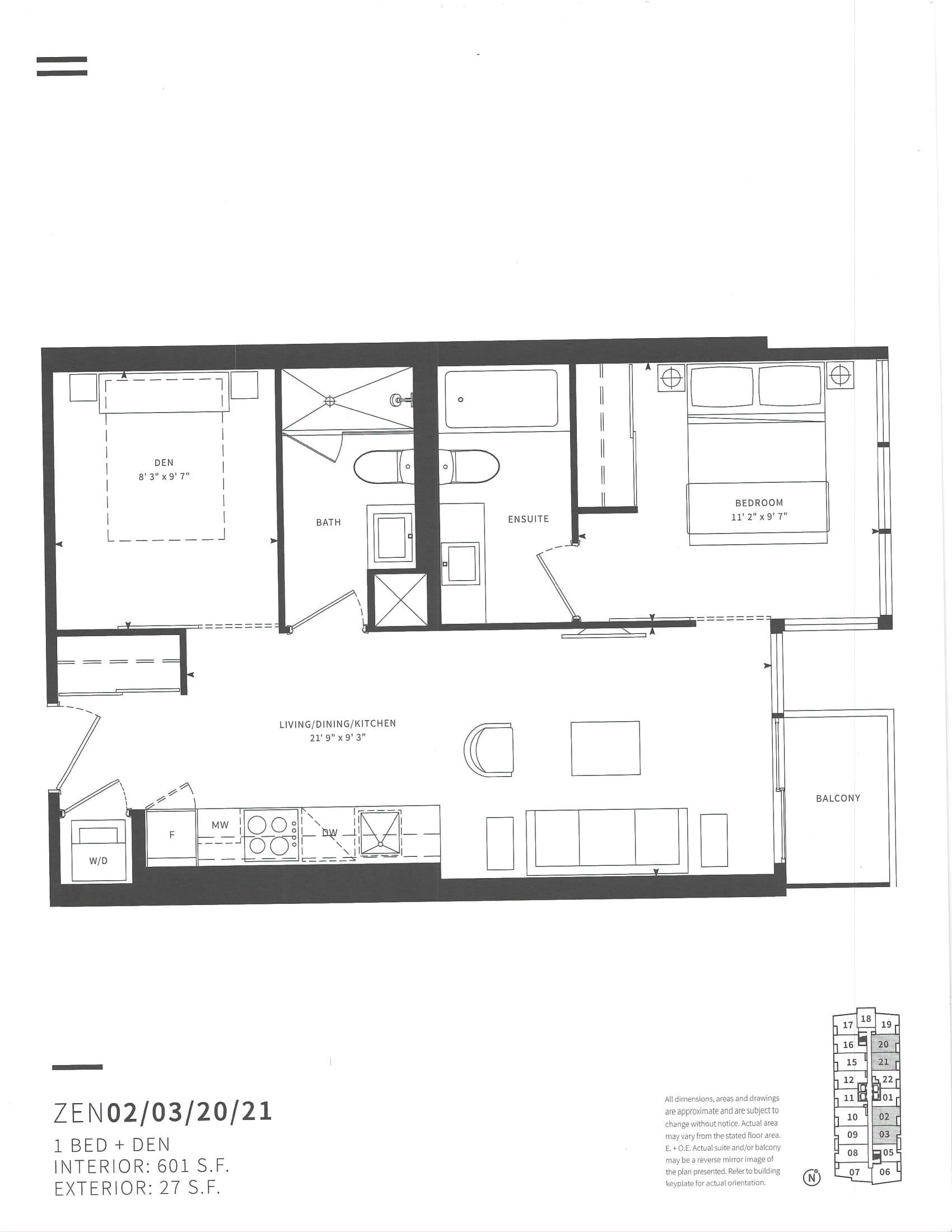 Floor plans for 19 Western Battery Rd Unit 2921.