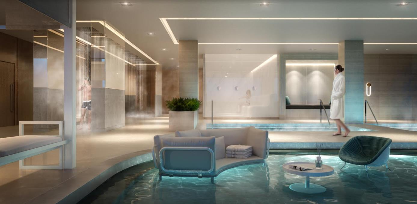 3D render of Scandinavian spa at Zen King West Condos.
