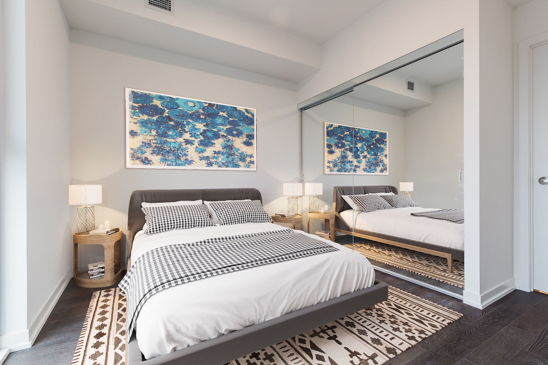 #3108 20 Richardson St – virtually staged master bedroom with bed and side tables.