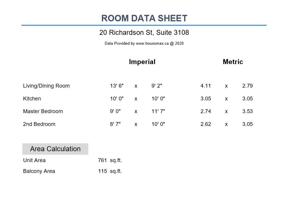 Room Measurements – 20 Richardson St Unit 3108