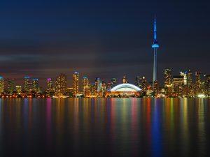 Toronto skyline at night from Lake Ontario.