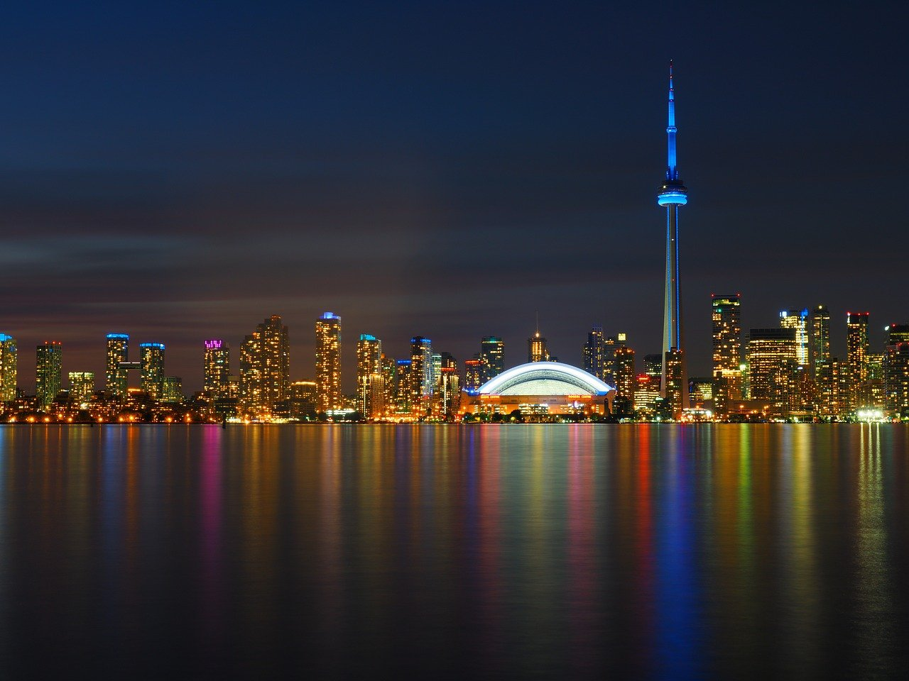 Toronto skyline at night from Lake Ontario.