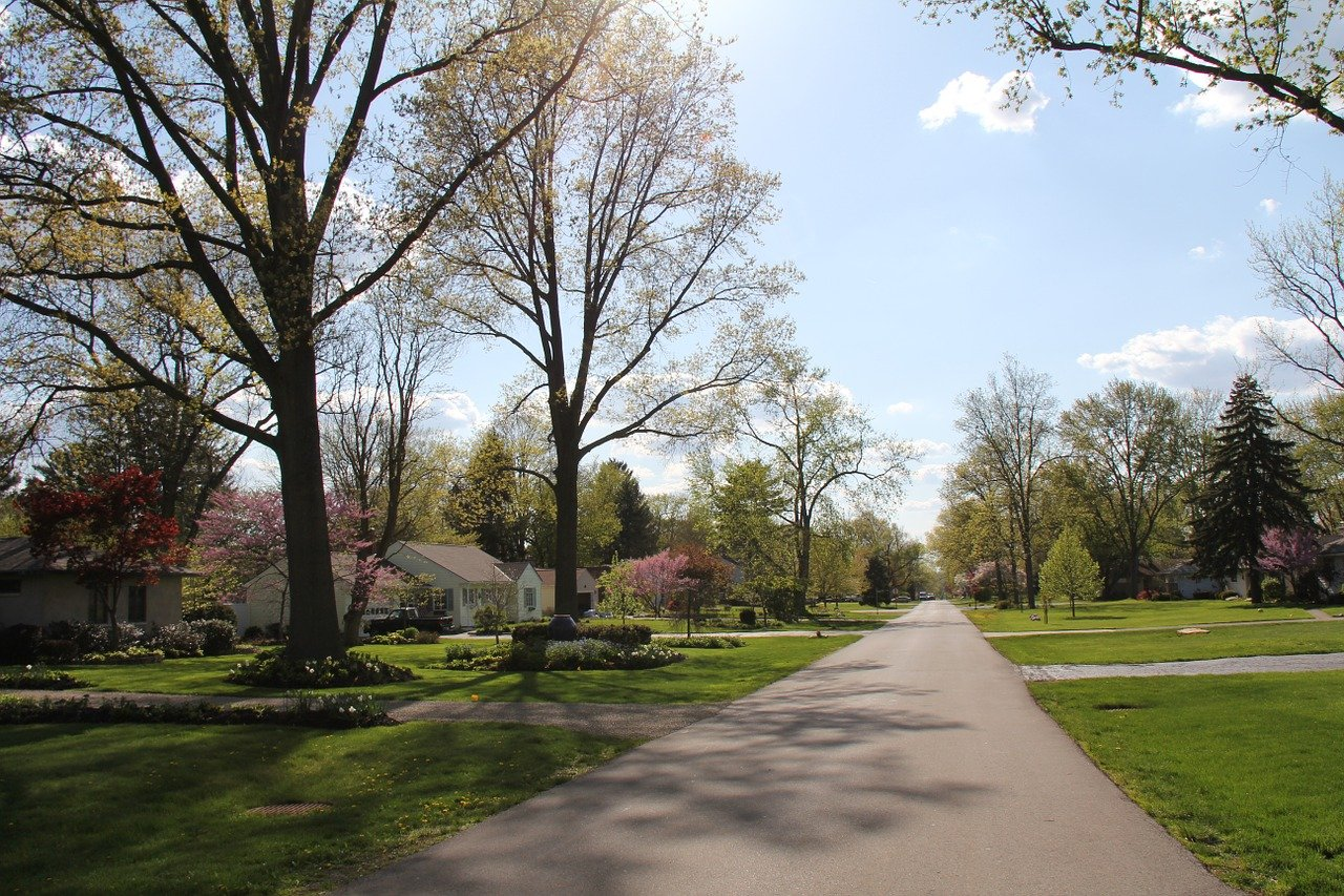 Photo of park in suburbs.
