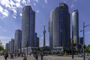 CN Tower and tourists to show post-COVID tourism.