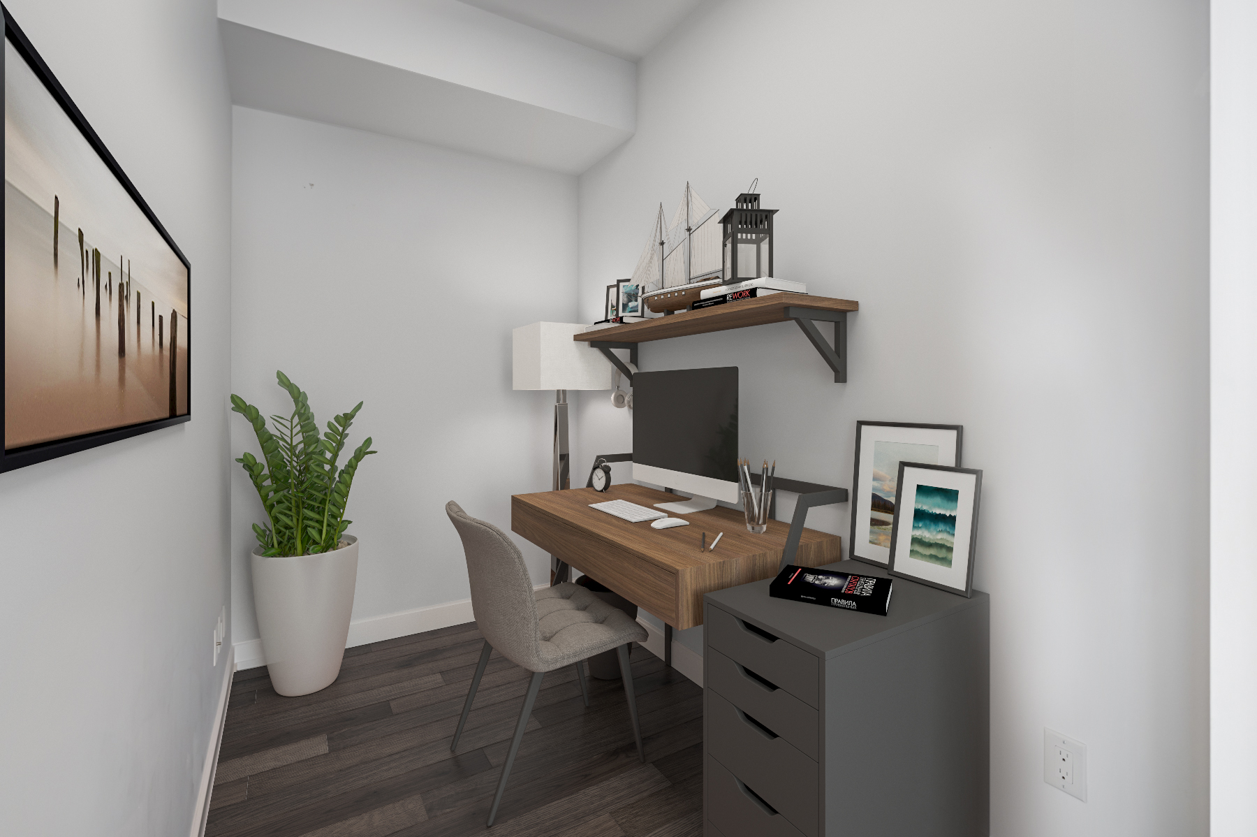 Den and home office with 3D furniture – 488 University Ave 4610.