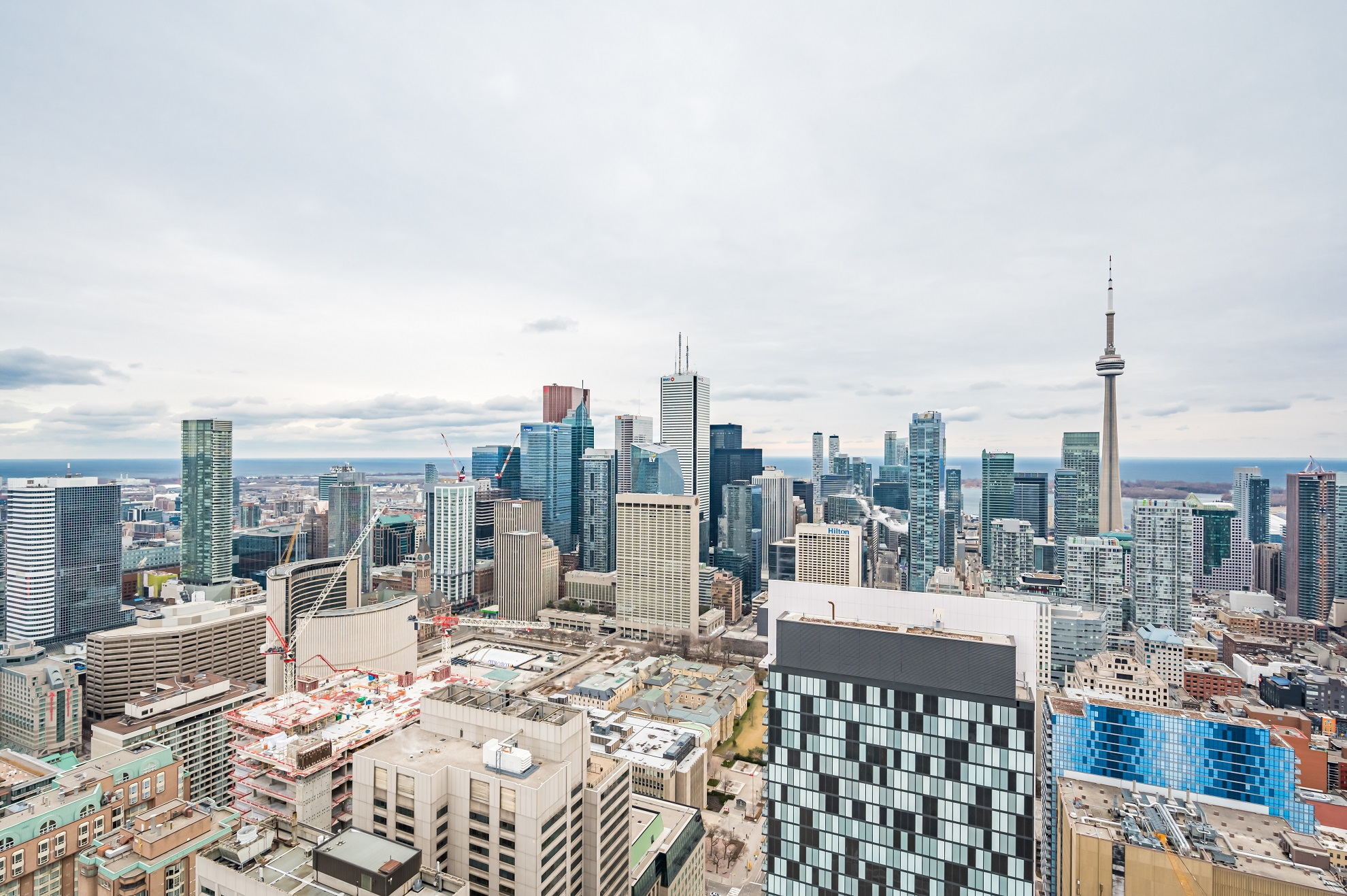 Toronto skyline showing CN Tower, City Hall and other buildings.