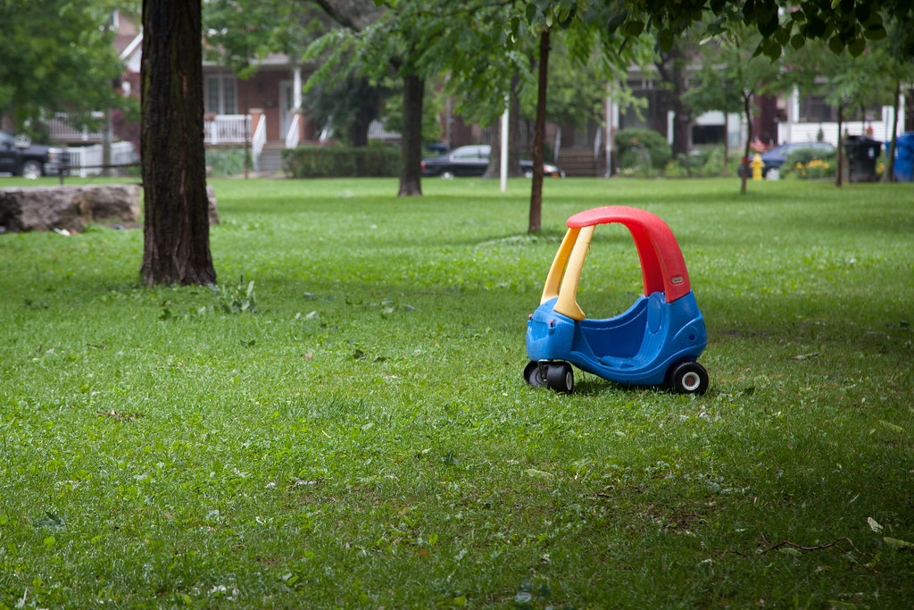Dovercourt Park with Fisher Price toy car in Dovercourt Wallace Emerson Junction.