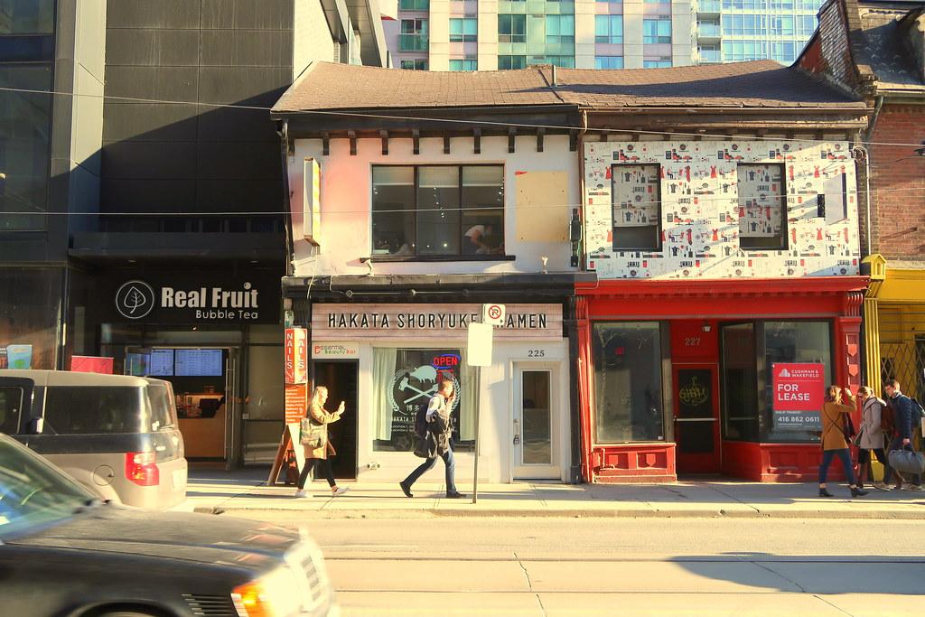 Restaurants along Trinity Bellwoods, Toronto.