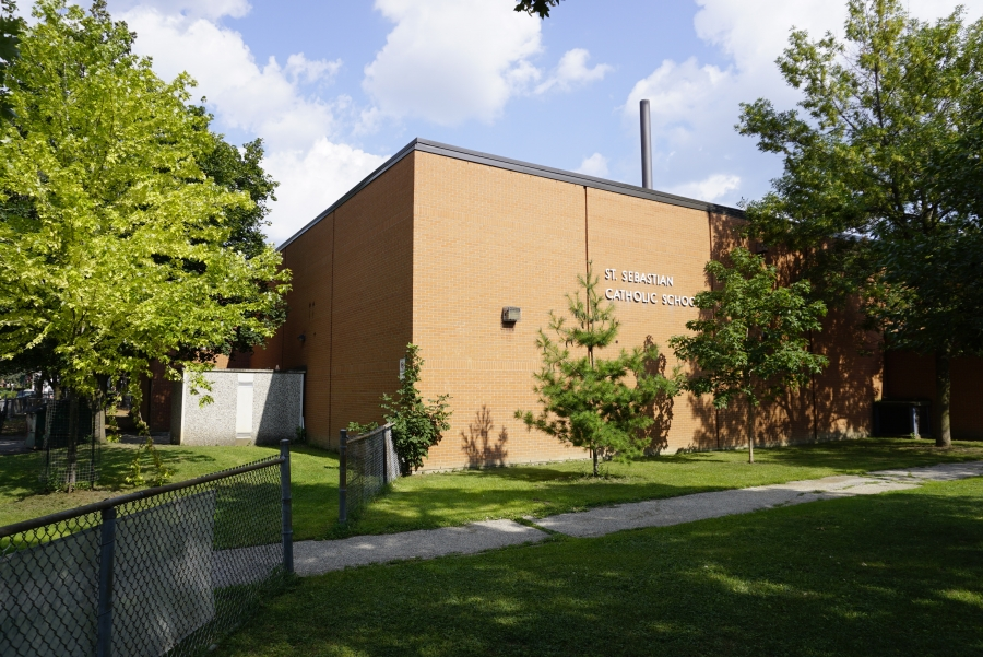 Exterior of St. Sebastian Catholic School in Toronto's Dovercourt Wallace Emerson Junction.